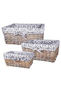 Набор из 3-х плетеных корзин Miolla
