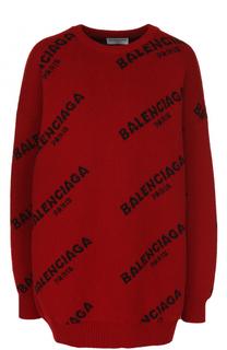 Пуловер свободного кроя с логотипом бренда Balenciaga