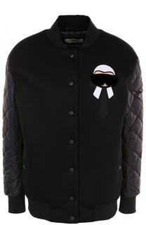 Бомбер с декоративной отделкой и утепленными рукавами Fendi