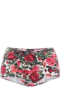 Плавки-бикини с цветочным принтом и завышенной талией Dolce & Gabbana