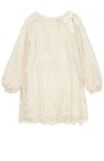 Кружевное мини-платье свободного кроя с бантом Ermanno Scervino