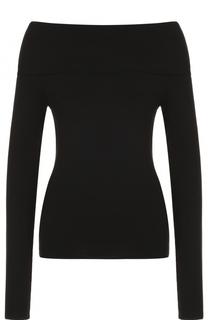 Шерстяной приталенный пуловер с открытыми плечами Ralph Lauren