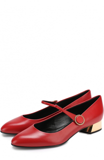 Кожаные туфли с ремешком на устойчивом каблуке Casadei