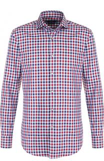 Хлопковая рубашка в контрастную клетку BOSS
