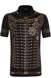 Хлопковое поло с принтом Dolce & Gabbana