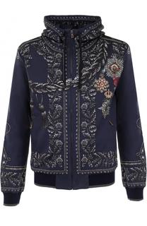 Кардиган на молнии с принтом и капюшоном Dolce & Gabbana