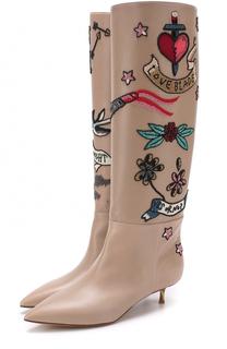 Кожаные сапоги Twisteel на каблуке kitten heel Valentino
