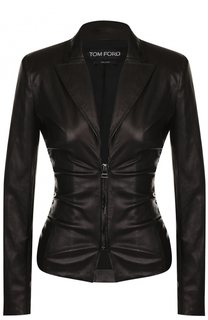 Приталенная кожаная куртка с V-образным вырезом Tom Ford