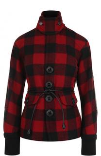 Шерстяная куртка в клетку с поясом Dsquared2