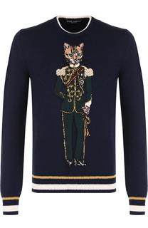 Шерстяной джемпер с круглым вырезом Dolce & Gabbana