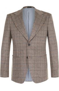 Однобортный кашемировый пиджак в клетку Giorgio Armani