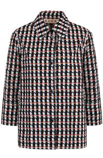 Хлопковая блуза с принтом и укороченным рукавом Marni