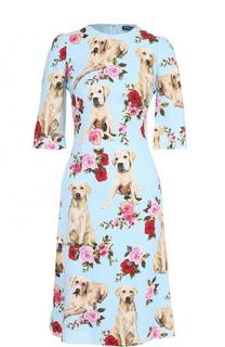 Приталенное платье с принтом и укороченным рукавом Dolce & Gabbana