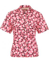 Хлопковая блуза с принтом и коротким рукавом Marni