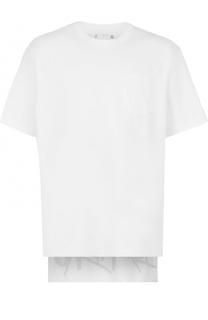 Хлопковая футболка с декоративной отделкой Sacai