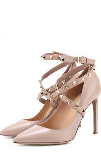 Кожаные туфли Studwrap с ремешками на шпильке Valentino