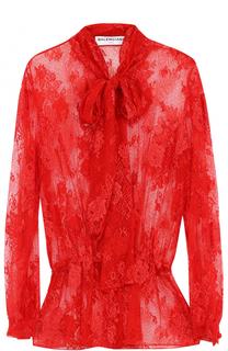 Кружевная блуза с воротником аскот Balenciaga