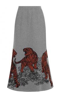 Расклешенная юбка-миди с принтом Tak.Ori