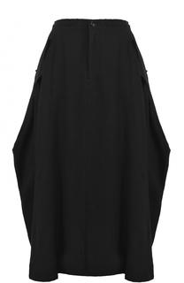 Шерстяная юбка-миди с карманами Yohji Yamamoto