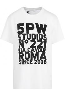 Хлопковая футболка с круглым вырезом и принтом 5PREVIEW