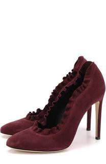 Замшевые туфли с оборками на шпильке Giuseppe Zanotti Design