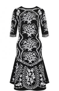 Приталенное платье-миди с укороченным рукавом Oscar de la Renta