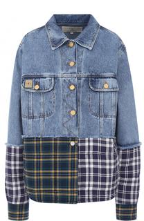 Джинсовая куртка с потертостями и контрастной вставкой Natasha Zinko