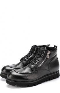 Кожаные ботинки на шнуровке с молнией Rocco P.