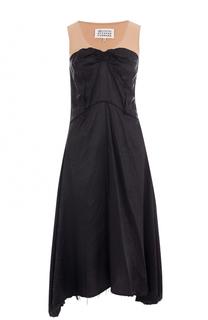 Приталенное платье-миди с контрастным лифом Maison Margiela