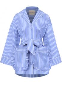 Хлопковая блуза в полоску с накладными карманами и поясом Erika Cavallini
