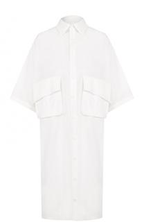 Хлопковое платье-рубашка с накладными карманами Yohji Yamamoto