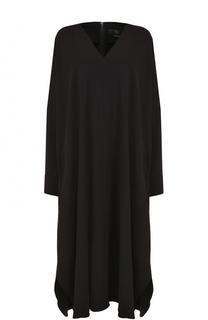 Платье-миди свободного кроя с V-образным вырезом Yohji Yamamoto