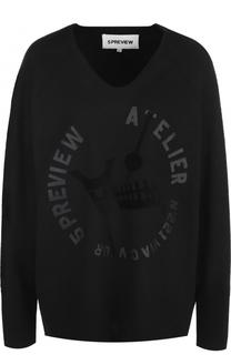 Шерстяной пуловер с V-образным вырезом 5PREVIEW