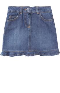 Мини-юбка из денима с вышивкой и оборкой Fendi Roma