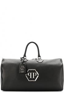 Кожаная спортивная сумка с логотипом бренда Philipp Plein