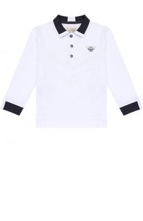 Хлопковое поло с контрастной отделкой и длинными рукавами Armani Junior