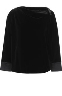 Бархатная блуза с драпировкой и укороченным рукавом Armani Collezioni
