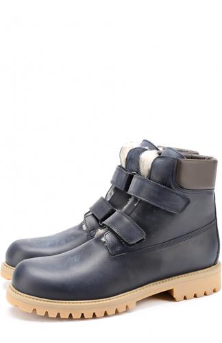 Утепленные кожаные ботинки с застежками велькро Gallucci