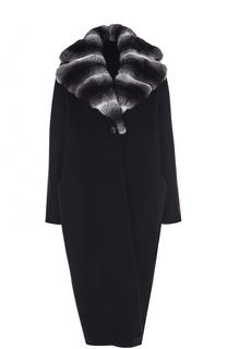 Кашемировое пальто с отделкой из меха шиншиллы Kiton