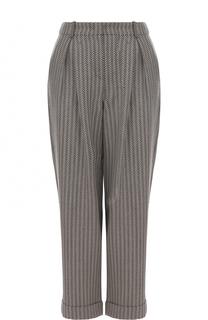 Укороченные брюки с принтом и защипами Armani Collezioni