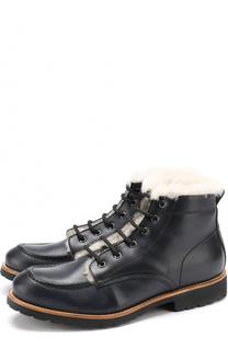 Кожаные ботинки с прострочкой и меховой отделкой Gallucci