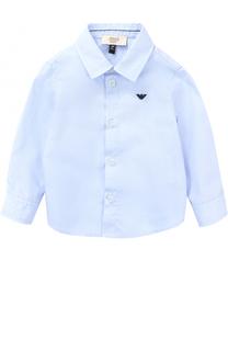 Хлопковая рубашка с логотипом бренда Armani Junior