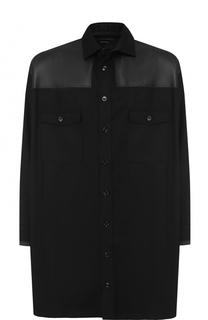 Шерстяная рубашка с отделкой кожей Alexander McQueen