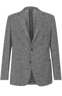 Однобортный пиджак из смеси шерсти и хлопка Ermenegildo Zegna