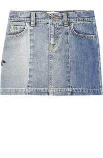Мини-юбка из денима с вышивками Gucci