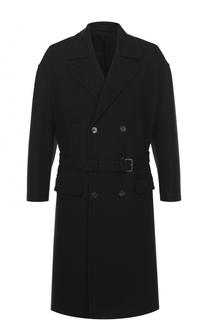 Шерстяное двубортное пальто с поясом Neil Barrett