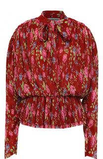 Плиссированная блуза с цветочным принтом и воротником аскот Balenciaga