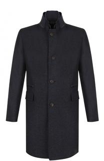 Шерстяное однобортное пальто с воротником-стойкой Windsor