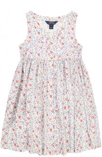 Мини-платье с завышенной талией и принтом Polo Ralph Lauren