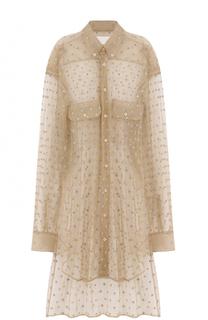 Удлиненная полупрозрачная блуза свободного кроя Maison Margiela